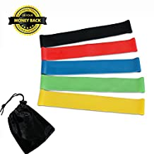 Bigear Exercise Resistance Loop Bands - Set of 5 Best Fitness Exercise Bands Workout Stretch Bands for Legs Butt Glutes Yoga Crossfit Fitness Physical Therapy Home Equipment Training for Women Men