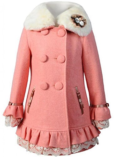 Big Girls Elegant Faux Wool Collar Winter Coats Warm Jacket Outerwear Overcoat