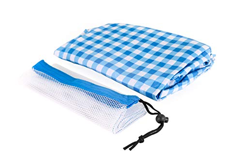 Keri & Joachim Vinyl Rectangle Tablecloth Stay Put Elastic Edge Fitted Wipeable Spillproof Table Cloth with Soft Flannel Backing Heavy Duty Plastic Table Cover Blue Checkered Plaid 68 X 28 -