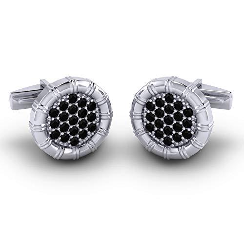 - Azeera NAVIKA Cufflinks 14k White Gold Black Onyx Gems