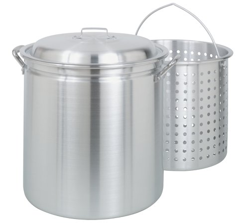 Bayou Classic 4060 60-Quart All Purpose Aluminum Stockpot with Steam and Boil Basket ()