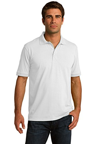 Sportoli Men's Cotton Blend Solid Everyday Uniform Short Sleeve Polo Shirt Top - White (Small)