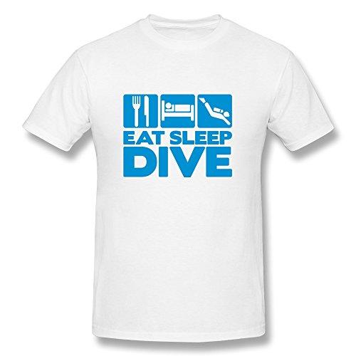 (Buluew Men's Skateboard Eat Sleep Dive 01 O Neck T-Shirt Size XXL US White)