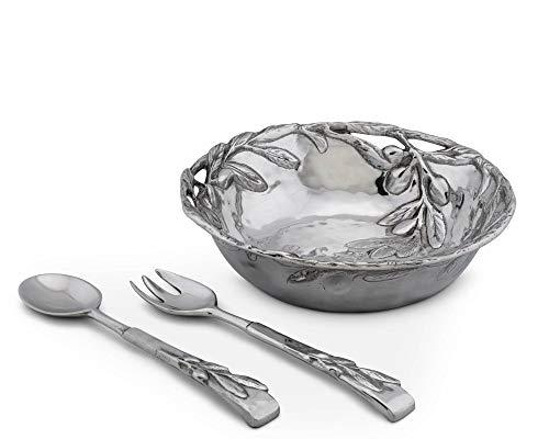 """Arthur Court Sand-Cast Aluminum Salad Set; Olive Pattern, 3 pieces, 12"""" Diameter Bowl plus 2 servers"""