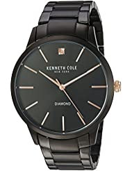 Kenneth Cole New York Men's 'Diamond' Quartz Stainless Steel Dress Watch, Color:Black (Model: KC15111004)