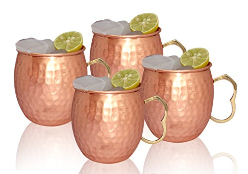 Moscow Mule 100 % Solid Pure Copper Unlined Mug /Cup (16-Ounce/Set of 4, Hammered, Premium Brass Handle)