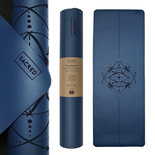 Sacred Yoga Mat + Yoga Mat Strap • Eco Friendly • No Slip Yoga Mat • Super Grippy Yoga Mat • Extra Long (72 in) • Wide Yoga Mat (26.7 in) • Extra Thick Yoga Mat • Organic Rubber • Best Yoga Mat