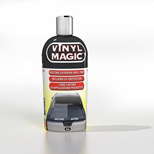 Vinyl Magic: Plastic and Trim Restorer, Dye-Free Formula Shines and Darkens Worn Out Plastic, Vinyl and Rubber Surfaces, Protects Cars from Rain, Salt and Dirt, Prevents Fading and Cracking