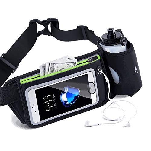 Win Design Hydration Belt for Running, Hiking or Marathons, Adjustable Running Fuel Belt for 10 Oz Bottles, Waterproof Runners Fanny Pack with Touch Screen Zipper Pockets, Fits iPhone 6-8Plus &5.5''