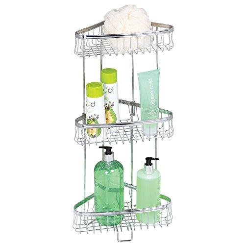 mDesign Decorative Metal 3-Tier Bathroom Corner Shelf Unit - Free Standing Vertical Storage Shelves - for Organizing Hand Towels, Body Lotion, Facial Tissues, Bath Salts - 3 Baskets - Chrome