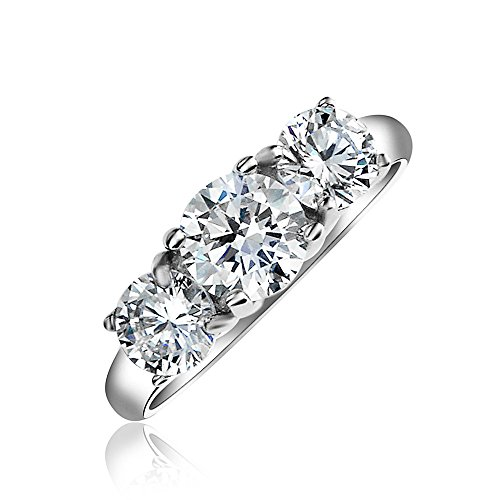 3CT Round Solitaire 3 Stone Past Present Future Promise Cubic Zirconia AAA CZ Engagement Ring 925 Sterling Silver ()