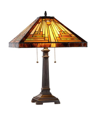 (Chloe Lighting CH33359MR16-TL2 Innes Tiffany-Style Mission 2 Light Table Lamp 16-Inch)