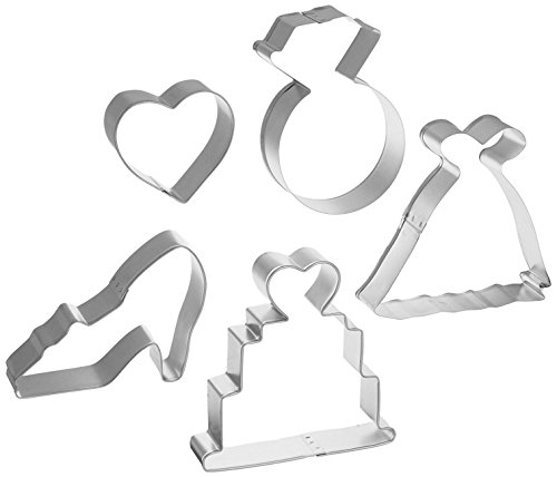 R&M International 1845 Bridal Cookie Cutters, Wedding Gown, High Heel Shoe, Ring, Cake, Heart
