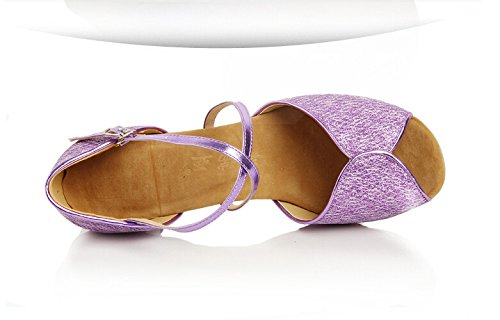 Glitter Latin Purple Patent Womens Shoes Dance Crisscross Peep Straps Tango toe qZUSPf