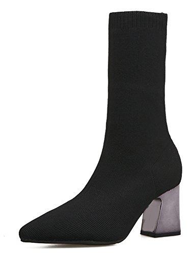Stiefel Elastisch Aisun Spitz Gestrickte Blockabsatz Hiigh Sexy Zehen Schwarz Damen Halbschaft Heels vSrxqtvw6