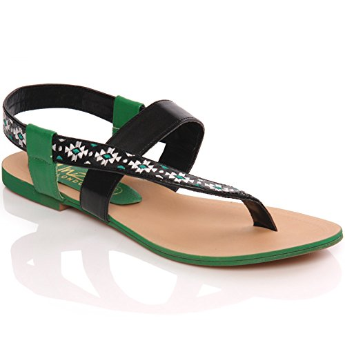 Unze Mujeres ' W00699 ' Flat Thong Sandal Verde