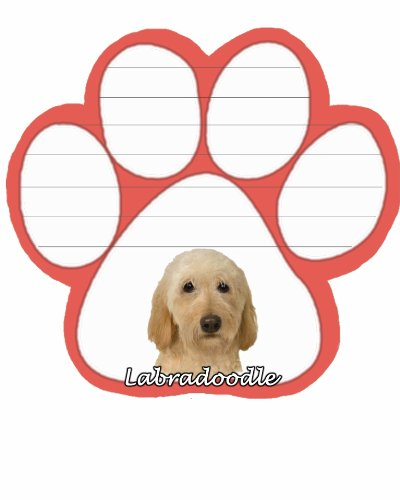 Image of Labradoodle, Yellow Notepad With Unique Die Cut Paw Shaped Sticky Notes 50 Sheets Measuring 5 by 4.7 Inches Convenient Functional Everyday Item Great Gift For Labradoodle, Yellow Lovers and Owners