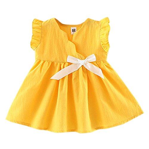 Tefamore kleinkind kinder mädchen ärmellose kleidung party prinzessin bowknot kleider Gelb