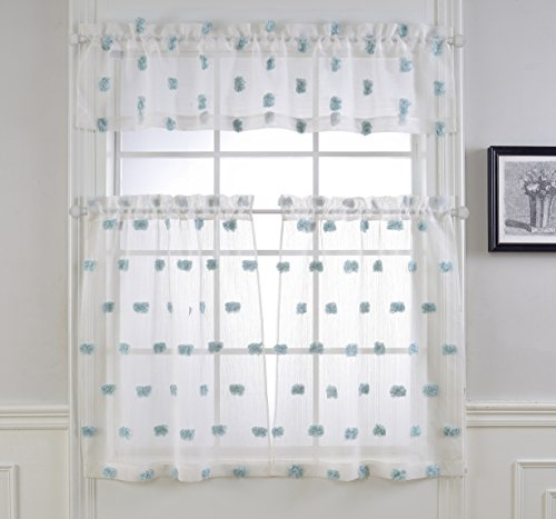 Mysky Home Pompon Design Fashion 3 Pieces Kitchen Jacquard Sheer Tier Curtains and Valance Set, Turquoise and White