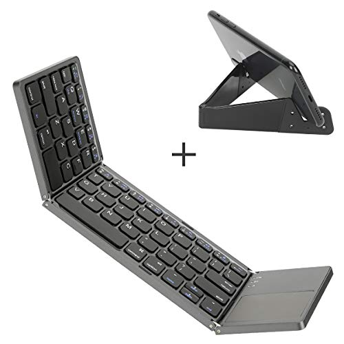 Foldable Bluetooth keyboard with Touchpad, IKOS Ultra Slim Tri-folding...