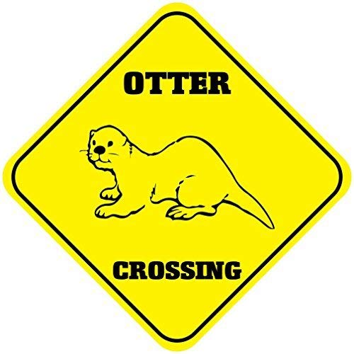 Liz66Ward Otter Aluminum Corssing Sign Caution Signs Funny Metal Animal Crossing Wall Art Decor 12x12 Novelty Gifts Sign