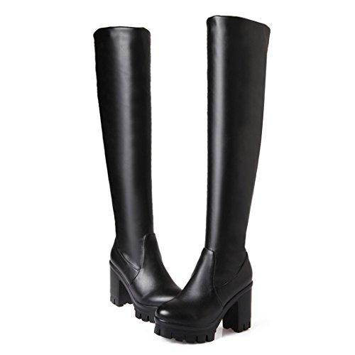 americana stivali al e stivali europea DEDE e alti e stivali impermeabili Sandalette autunnale black Moda ginocchio invernale tacchi ZqFB8zzIW