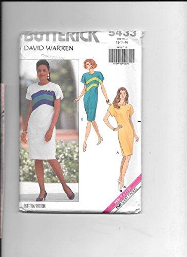 Sewing Pattern Butterick 5433 Designer David Warren Dress Options with Inset Curved Bands, or Welt Pocket 12-14-16 Misses
