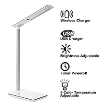 LED Desk Lamp, KuGi ® 12W Touch Dimmer LED Desk Lamp With (5v, 1A) Qi Wireless Charger & timing control, 4 Color Modes (Reading/Studying/Relaxation/Bedtime), 5-Level Dimmer. (White )