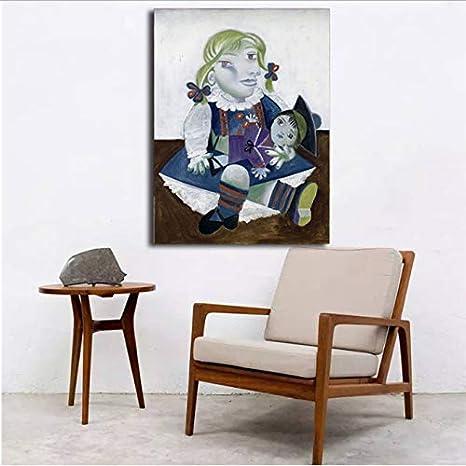 Zahuishile Pablo Picasso Maya con una muñeca Arte de la Pared Carteles de la Lona Impresiones Pintura al óleo Cuadros de la Pared para el Dormitorio Decoración Moderna del hogar 40X60Cm sin Marco