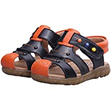 Happy Cherry Baby Boys Girls Prewalker Oxford Sole Genuine Leather Summer Cute Anti-Slip Closed Toe Casual Sandals Shoes