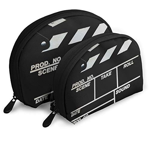 Retro Black Movie Clapboard Shellfish Cosmetic Bag Shell Shape Portable Storage Bags Luxury Toiletry Pouch ()