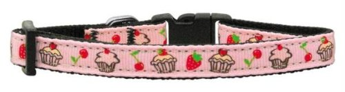 Mirage Pet Products Cupcakes Nylon Ribbon Collar for Pets, Small, Light Pink