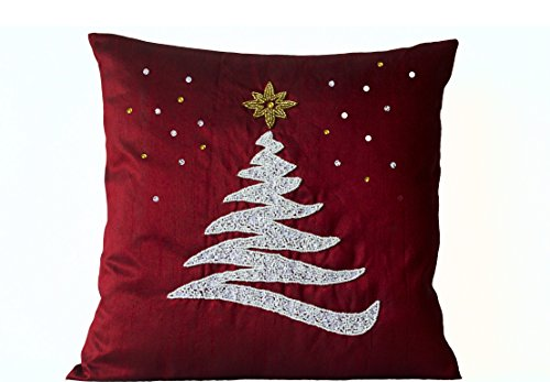 Amore Beaute Handcrafted Red Decorative Throw Pillow Cover with Christmas Tree, Star and Snow Embroidered in Beads, Sequins and Crystals Rhinestones - Holiday Home Decor - Toss Pillow Covers in ()