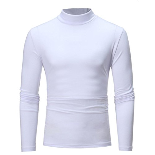 Sunhusing Men's Autumn and Winter Solid Color Turtleneck Long Sleeve Top Elastic Slim Pullover White