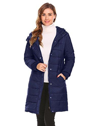 Misakia Women's Down Alternative Winter Puffer Bubble Jacket Coat (Navy Blue XL)