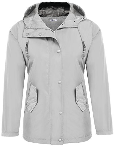 [Meaneor Women Raincoat Front Button Hooded Windproof Jacket Grey L] (Button Front Hooded Coat)