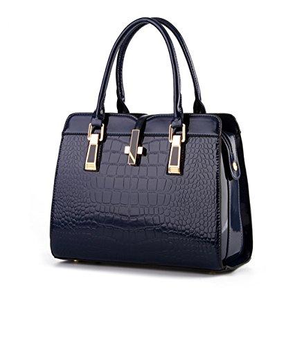 - Olivia Patent Leather Alligator Stripe Handbag Shoulder Bag Messenger Bag for Women Navy