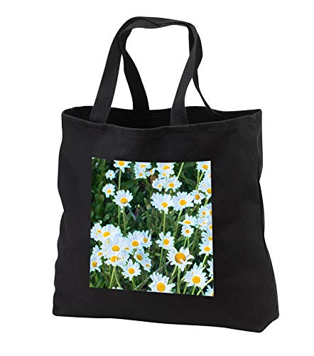 Jos Fauxtographee- Accented Edges Floral - A bunch of flowers with yellow centers and white in green leaves - Tote Bags - Black Tote Bag JUMBO 20w x 15h x 5d (tb_291354_3)