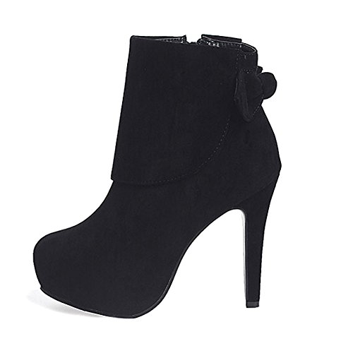Getmorebeauty Women Black Stilettos Suede High Heel Zip Ankle Boots 7 B(M) US