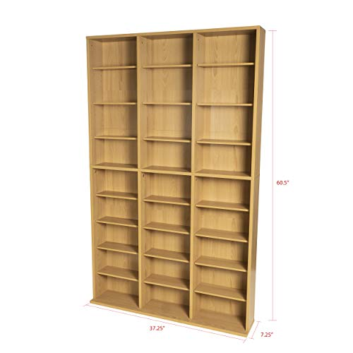 Atlantic Oskar Adjustable Media Wall-Unit - Holds 756 CDs, 360 DVDs or 414 Blu-Rays/Games, 21 Adjustable and 6 fixed shelves PN38435712 in Maple