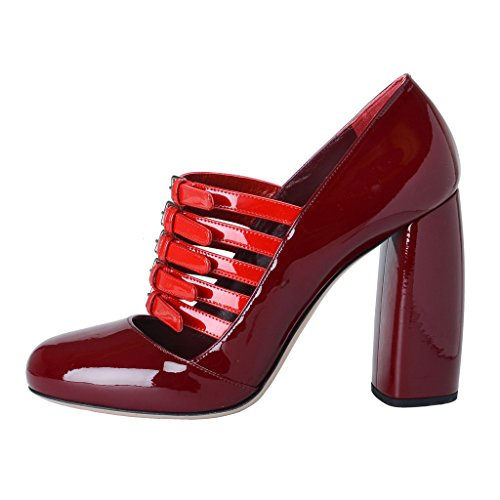 Heel Patent MIU Pumps Red Red Shoes Women's High Leather MIU ypTZYwfqp