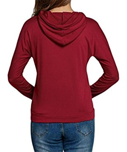 Red Comode Sport Donna Sweater Sweatshirt Pullover Kapuzenpullover Hoodie Moda Stampato Lunga Camicia Casuale Manica Felpe Slim Aivosen aF65zq6