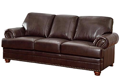 Aart Store 3 Seater Wooden Leatherette Sofa  Brown   SS 10