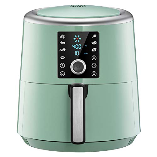OMORC Air Fryer, 6 Quart, 1800W Fast Large Hot Air Fryers & Oilless Cooker w/Presets, LED Touchscreen(for Wet Finger)/Roast/Bake/Keep Warm, Suitable for Dishwasher, Nonstick