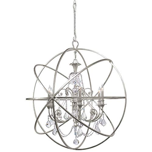 Light Accents Chandelier Six (Crystorama 9219-OS-CL-MWP Crystal Accents Six Light Chandeliers from Solaris collection in Pwt, Nckl, B/S, Slvr.finish,)