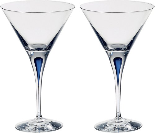 Orrefors Intermezzo Blue Martini Glasses, Set of 2 by Orrefors