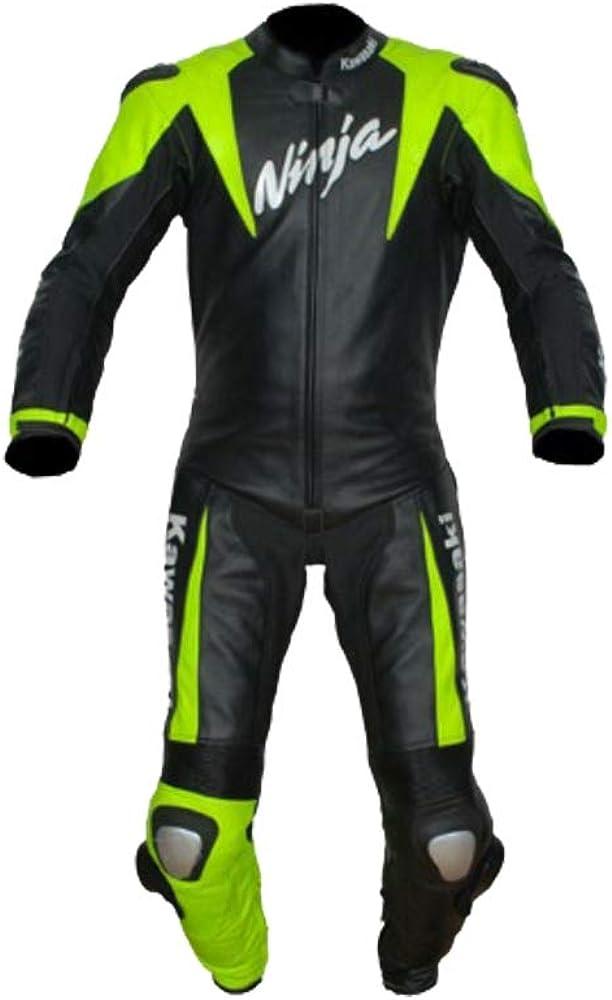 Kawasaki Combinaison de Moto en Cuir pour Homme Protection CE