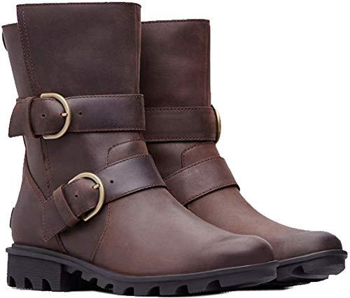 (Sorel Women's Phoenix Moto Boots, Ready/Cattail, Brown, 8.5 M US )