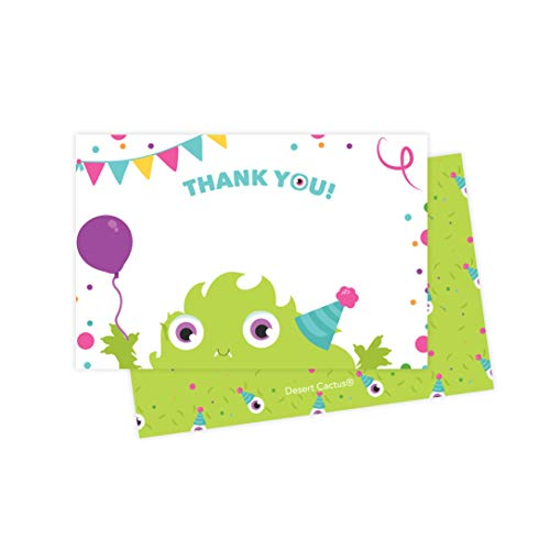 Monsters Thank You Cards (25 Count) With Envelopes & Seal Stickers Bulk Birthday Party Bridal Blank Graduation Kids Children Boy Girl