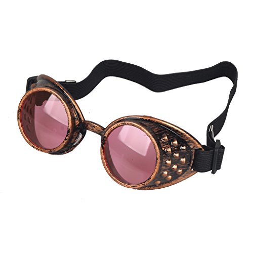Careonline Adjustable STEAMPUNK GOGGLES Glasses Punk Sunglasses Eyewear Safty - Sun Online Copper